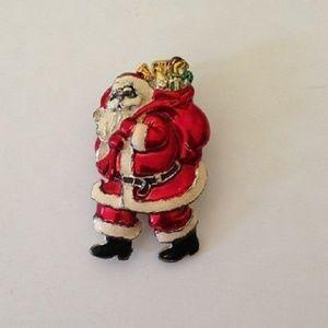 Santa Claus Pendant Pin Vintage Christmas Jolly